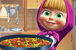 Masha and the Bear Cooking Tortilla Pizza